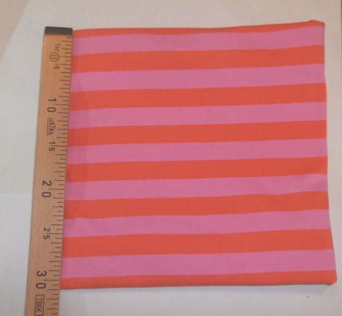 Jersey bio Lillestoff rayé Rose/orange -coupon de 50 cm-